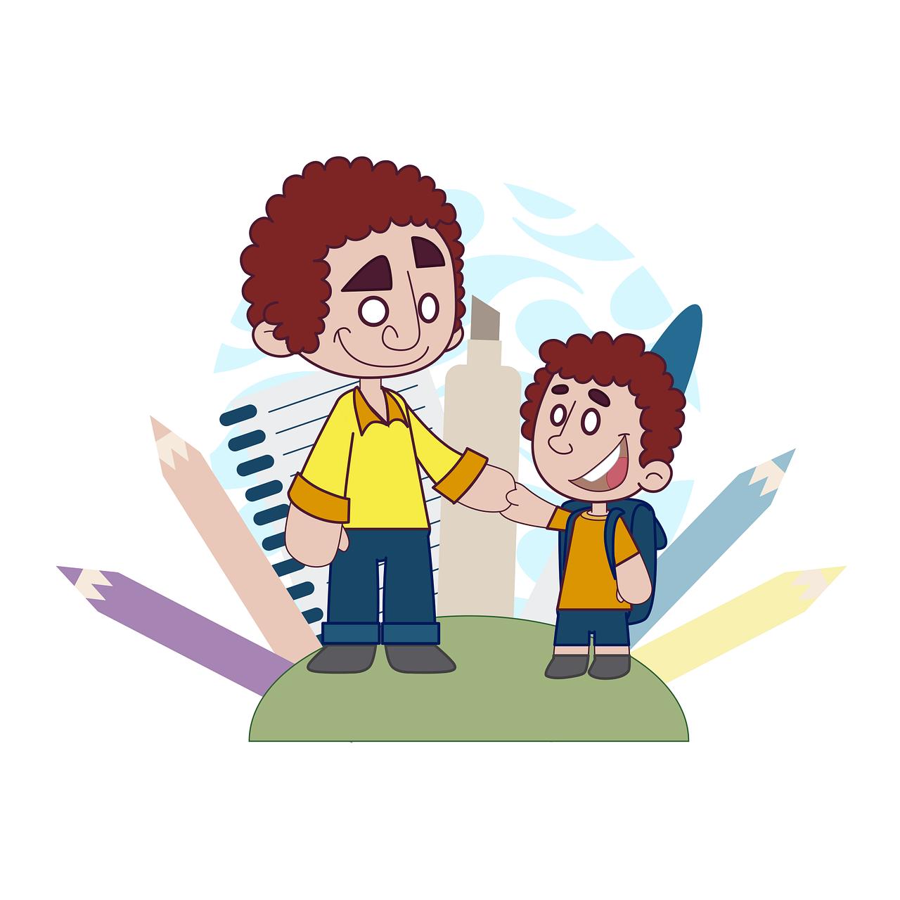 Father Son School Family Class  - andremsantana / Pixabay